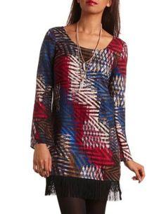 printed fringe shift dress
