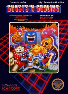 """Box art for the Nintendo Entertainment System version of Capcom's """"Ghosts & Goblins,"""" released in 1986."""