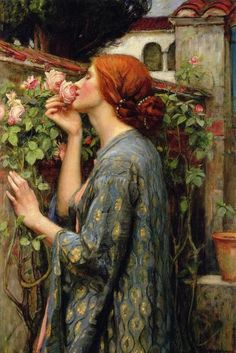 John William Waterhouse (John Waterhouse) - The Soul of the Rose (My Sweet Rose) - 1903 (or private collection. John William Waterhouse, William Faulkner, Paintings Famous, Classic Paintings, Famous Artists, Old Paintings, Renaissance Kunst, Renaissance Paintings, Famous Renaissance Art