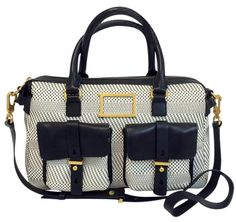 cd09b740c030 Marc by Marc Jacobs Werdie Weavy Satchel in white and black Marc Jacobs  Logo