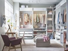 Attempting to install an IKEA PAX closet system? Avoid divorce court and a raging headache with these expert tips. Wardrobe Room, Closet Bedroom, Bedroom Storage, Bedroom Into Dressing Room, Ikea Dressing Room, Spare Room Closet, Wardrobe Storage, Built In Dressing Table, Ikea Storage