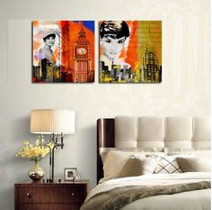 Classic Movie star Audrey Hepburn painting Canvas printed wall hanging artwork particular yearn memory wall decors poster OM