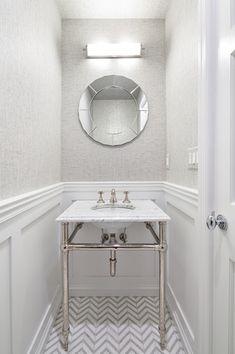Contemporary Powder Room with herringbone tile floors, Wainscotting, Sonneman Edge 22 Chrome Bath Light Fixture, Powder room
