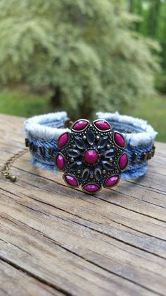 Check out this item in my Etsy shop https://www.etsy.com/listing/291247763/fuchsia-and-denim-bracelet