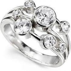 RLD004 - 1 Carat Rainfall 7 Stone Diamond Ring. 1 Carat seven stone 'Rainfall' diamond ring, with round diamonds, bezel settings across a contemporary three section band.