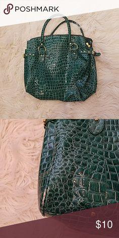 Green Patent Leather Croc Satchel Purse Beautiful unique patent leather satchel purse. Some wear on the corners. Bags Satchels
