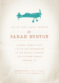 Vintage airplane baby shower invite