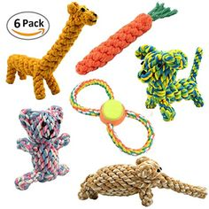 Dog Rope Toys for Dogs Cats, Mlife Animal Shape Cotton Rope Dog Training Toys for Small and Middle Pets, 6 Pack * Read more at the image link. (This is an affiliate link) #SmallAnimals