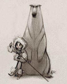 Polar Girl - Illustration by Meg Park Art And Illustration, Character Illustration, Polar Bear Illustration, Character Concept, Character Art, Concept Art, Animation, Character Design References, Character Design Inspiration