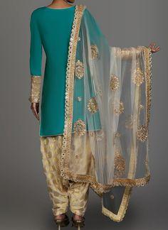 Teal and Golden Cream Brocade Punjabi Suit