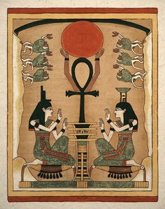 Ancient Egyptian Goddess Sisters Isis and Nephthys Art Print. via Etsy