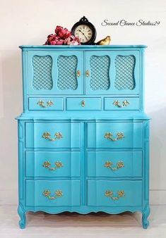 (1) Newest Pieces! – Page 6 – Second Chance Studios Tall Boys, Absolutely Fabulous, French Provincial, Furniture Companies, White Furniture, Wood Construction, Tiffany Blue, Floral Motif, Joinery