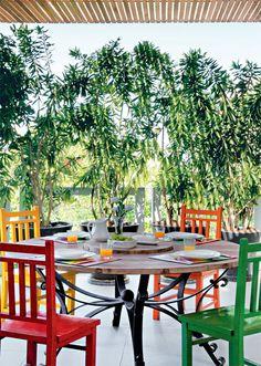 """Biombo verde. Vasos de cimento tingidos de preto acomodam mudas de dracena, espécie de fácil manutenção que chega a 2 m de altura. """"É uma planta resistente, que precisa de poucas horas de sol por dia e só exige duas adubações ao ano"""", explica Suzi Barreto, sócia da Landscape, que assina o paisagismo. Ela indica outras opções de espécies para esse uso: dracena-malaia (de folhas amareladas), bambu-multiplex e palmeira-ráfis."""