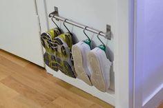 15 IKEA Hacks for Small Entryways Hallway Shoe Storage, Diy Shoe Storage, Diy Shoe Rack, Ikea Storage, Hanging Storage, Storage Hacks, Shoe Storage Small Apartment, Shoe Storage Kitchen, Diy Vertical Storage