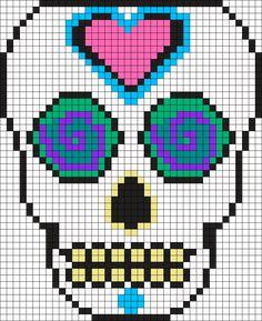 Mexican Muerto Skull  Perler Bead Pattern / Bead Sprite