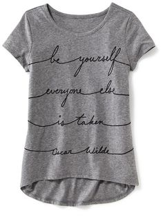 Love the quote! Only XS left online, but that should work. Girls Licensed Oscar Wilde© Graphic Tee