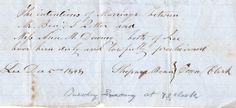 1848 Certificate of Publishment  Intention of Marriage Benj Potter to Ann Downey