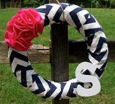 Navy and Pink Chevron Wreath