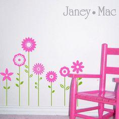 Flowers Baseboard Wall Decal - Children's Bedroom Vinyl Wall Room Decor Sticker - Girl Wall Art - CT102A. $23.00, via Etsy.