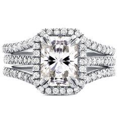 Annello 14k White Gold Radiant Cut Moissanite and 3/5ct TDW Halo Diamond 3-Piece Bridal Rings Set (G-H, I1-I2)