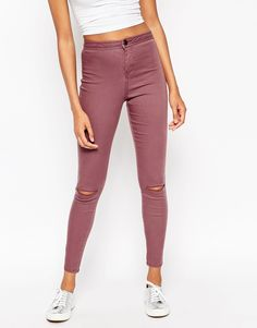 ASOS Rivington Ankle Grazer Jegging In Reddy Brown With Displaced Ripped Knees