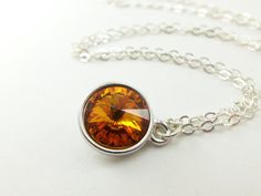 Citrine Birthstone Necklace Sterling Silver Necklace by Jalycme
