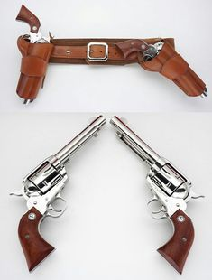 """And holster rig featuring a hip-strong arm-right side hip holster and a """"mexican"""" cross draw position holster. Rifles, Gun Holster, Leather Holster, Weapons Guns, Guns And Ammo, Armas Wallpaper, Western Holsters, Cowboy Holsters, Cowboy Action Shooting"""