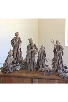 Nativity Items 156862: Nautical Coastal Beach Cottage - Set Of 6 Driftwood Carved Nativity Figurines -> BUY IT NOW ONLY: $338 on eBay!