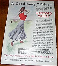Vintage Cereal Ads: Shredded Wheat Lady Golfing Print Vintage Food, Vintage Recipes, Magazine Ads, Breakfast Time, Junk Drawer, Vintage Ephemera, Interesting Stuff, Vintage Advertisements, Cereal