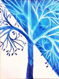 Blue White Winter Tree ACEO by Karen J. Kolnes Limited Edition