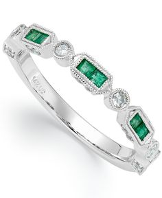 14k White Gold Emerald (1/4 ct. t.w.) and Diamond (1/5 ct. t.w.) Alternating Ring
