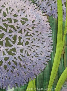 Globe Thistle by Aileyn Renli Ecob.  Closeup photo by Quilt Inspiration.  2015 DVQ show.