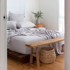 The summer bed - no need for a duvet just a set of beautiful bamboo sheets King Bedding Sets, Duvet Bedding, Linen Bedding, Costal Bedroom, Bedroom Decor, Bedroom Ideas, Soft Grey Bedroom, Bedding Decor, Grey Sheets