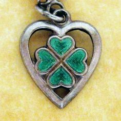Vintage German Silver Art Deco Enamel Lucky Clover Heart Charm | eBay