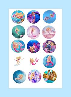 Barbie Mermaid collection bottle cap images sheet | BlueEyedKissesBoutique - Graphics on ArtFire