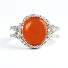 Palladium Ring with Cabochon and Diamonds