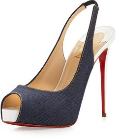 Christian Louboutin Private Number Denim Red Sole Pump, Blue/White