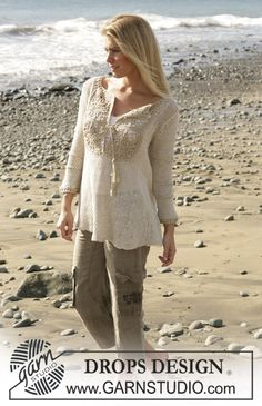 DROPS tunic with crochet diamond pattern and ¾ sleeves in Bomull-Lin and Cotton Viscose.  Free pattern by DROPS Design.