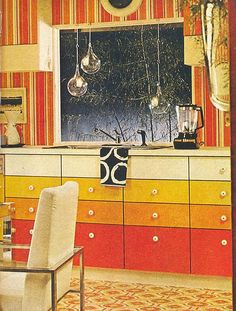 Our current bathroom floor:  Armstrong Floors ad, 1973 by Gatochy, via Flickr - ombrayed cabinet.