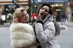 Megan Hilty and Katharine McPhee (I love how theyre always together when the show isn't filming, all their tweets are about each other :)