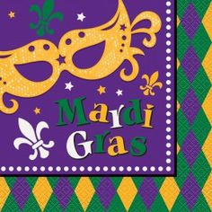 Add in the lunch napkins./ Wally's Party Factory #masquerade #mardi #gras #lunch #napkins