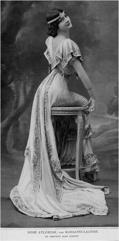 Robe-sylphide, designed by Jeanne Margaine-Lacroix, 1908. She patented several versions of her robe-sylphide and corset-sylphide. One of these, outlined the hips and thighs and looked much like a fore-runner of today's stretch bodies or magic knickers. (Text from rbkclibraries blog)