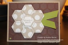 handmade card from Snippets: More hexagons ... quilt flower made of hexagons with sentiment at the center ... embossing folder hexagon grid texture ... luv it! ... Stampin'Up!