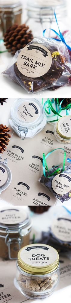 FREE Printable Labels for all of your edible holiday gifts! Recipes included.