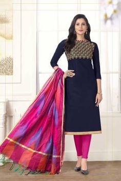Blue Cotton Embroidered Straight Churidar Suit Salwar Kameez, Churidar Suits, Latest Salwar Suit Designs, Salwar Designs, Cotton Suit, Cotton Fabric, Beautiful Suit, Navy Blue Color, Pink Color