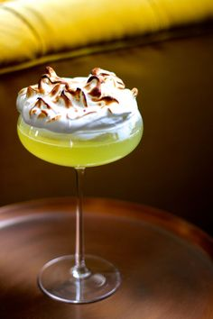 What more do I need to say about this? The sharp lemony alcohol balanced  with the sweet, marshmallowy meringue is refreshing and addictive.   Ingredients (per portion)     * 40ml fresh lemon juice      * 20g caster sugar      * 40ml limoncello liqueur      * Sparkling water and ice  For the