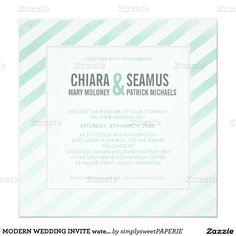 Modern watercolor stripe mint green wedding invitation.