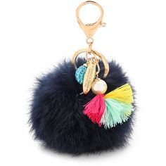 Lenora Dame Puff Bag Charm ($38) ❤ liked on Polyvore featuring accessories, locking key ring, lenora dame and fur key ring