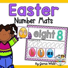 Young+children+will+practice+identifying+numbers+and+counting+1-12+with+these+Easter+Number+Mats.The+set+includes+12+mats+(numbers+1-12)+with+the+number+word,+numeral,+and+an+area+to+count+corresponding+manipulatives.++Each+mat+includes+4+picture+cards+to+represent+the+number.