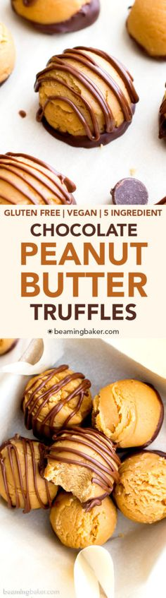 Gluten Free Vegan Chocolate Peanut Butter Truffles (V, GF, DF): an easy, 5 ingredient recipe for decadent peanut butter truffles dipped in chocolate. #Vegan #GlutenFree #DairyFree #Christmas   BeamingBaker.com